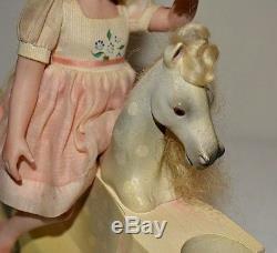 Miniature Doll Porcelain Girl 7 3/4 Dollhouse Horse Jane Davies Artist 8 of 10