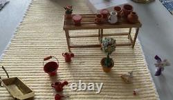 Miniature Greenhouse Antique Dollhouse Garden Germany Flowers Tools