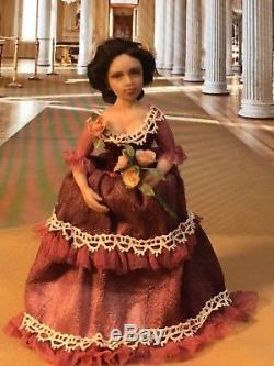 Miniature Victorian doll OOAK hand sculpted, 1/12 scale dollhouse, ALMA Artistry