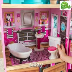 New Shimmer Mansion Dollhouse Wooden Dollhouse Fits Barbie Sized Dolls Toy Gift