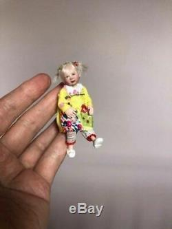 OOAK 12th scale Dollhouse Polymer clay Miniature Doll Character Girl