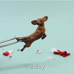 OOAK Dollhouse Miniature Dachshund Sculpture by Kerri Pajutee Handsculpted Dog