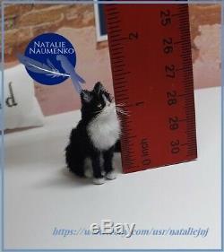 OOAK Handsculpted Tuxedo Cat Realistic Miniature Dollhouse 112 Handmade Animal
