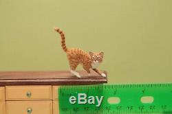 OOAK realistic dollhouse miniature hand-sculpted orange tabby cat