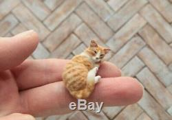 OOAK realistic dollhouse miniature hand-sculpted sleeping orange tabby cat