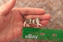 OOAK realistic dollhouse miniature lying tabby cat 112 scale