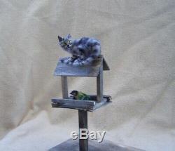 Ooak Miniature Dollhouse Cat in a bird feeder and Great tit bird by Malga