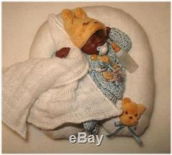 Ooak Miniaturen Baby inkl. Stillkissen nur 6,5 cm 112 UNIKAT von D. Stange