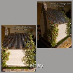 Ooak Tin Roof She-shed Dollhouse Cottage White Wood Siding Rose Vines Lovely