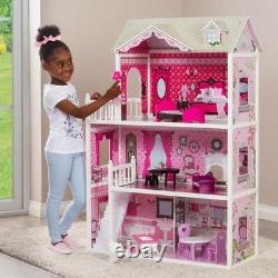 Pink Decorated Barbie Dollhouse Furniture Doll House Kids Toys Dolls Girls Gift