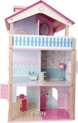 Puppenhaus 3 Etagen drehbar aus Holz Puppenstube 21 Möbel 59 x 70 x 39 cm Neu