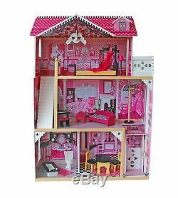 Puppenhaus Holz XXXL 3 Etagen Puppenvilla Puppenstube Dollhouse + Möbel Zubehör