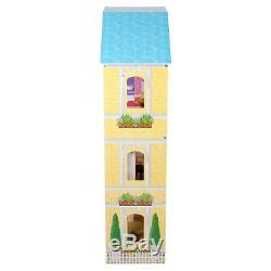 Puppenhaus Holz XXXL 4 Etagen Puppenvilla Puppenstube Dollhouse + Möbel Zubehör