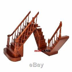 Quality Y Staircase 112 Scale Miniature Wooden dollhouse stair WN with rails