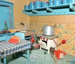 RARE CHILDRENS ANTIQUE DUTCH DOLL HOUSE 1930s GERMAN KITCHEN