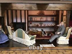 ROBERT STUBBS TUDOR DOLLS HOUSE, FURNISHED, 1/12th Scale