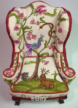 Rare 1980's Dollhouse Miniature Jean Strup & Betty Valentine Crewelwork Armchair