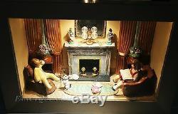 Rare Antique Narcissa Thorne Diorama Victorian Room Children Dog Cat Mirror Book