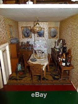 Rare Barley Twist fully furnished G&J Lines Dolls House 1910 with elevator