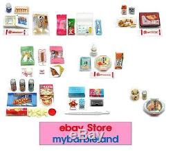 Re-ment Full Set of 8 Barbie Sz 24 HOURS CONVENIENCE STORE MINIATURE FOOD
