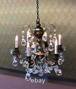 Real Crystal Chandelier Renaissance Antique (6-Arm), Dolls House Miniature
