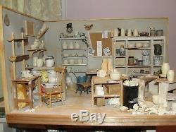 SALE Craig Roberts Pottery Shop Room Box w Accessories OOAK Dollhouse Mini