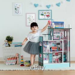 SOLD OUT Teamson Kids Childrens Dreamland Barcelona Blue Doll House & Furniture