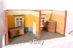 Sehr Große antike Puppenstube / Puppenhaus m. Möbeln / Puppenzimmer 2 Schränke