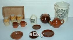 Stokesayware 3 Storage Jars Tea Pot Cup Saucer Plates Bread Crock Dolls House