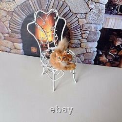 TABBY CAT Dollhouse realistic OOAK miniature 112 handsculpted handmade