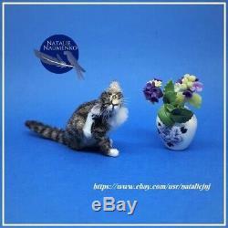 Tabby Cat OOAK 112 Miniature Dollhouse Handmade Handsculpted Realistic Sculptur