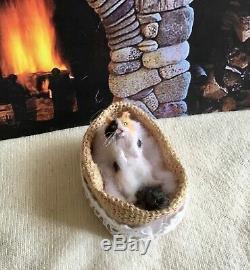 Tabby Cat OOAK Realistic Miniature Handsculpted Handmade Dollhouse 112 kitten