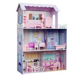 Teamson Fancy Mansion Wooden Kids Dollhouse Dolls House & Furniture Fits Barbie