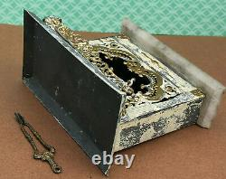 VICTORIAN MINIATURE Fireplace Dollhouse Metal Marble Mantle withTongs c1880 GERMAN