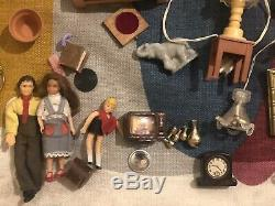 VTG Dollhouse Miniature Mixed Lot Lundby MCM Furniture Dolls Lamps Kitchen Art