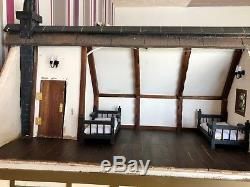 Very Large Tudor Style Dolls House 3 Floors With Lighting Stuning Hand Made