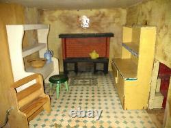 Vintage 1920s Lines Triang No 8 Dolls House & Furniture -TLC COLLECTION ONLY