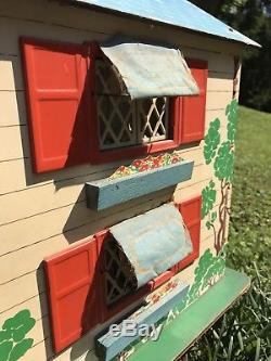 Vintage 1942 KEYSTONE Dollhouse Masonite Electric Lights Mailbox Doll House Rare
