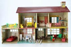 Vintage 1950's Marx Metal Two-Story Colonial Doll House With Box & Furniture VIDEO