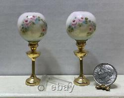Vintage Artisan MINNICK Pair Rose Globe & Brass Lamps Dollhouse Miniature 112