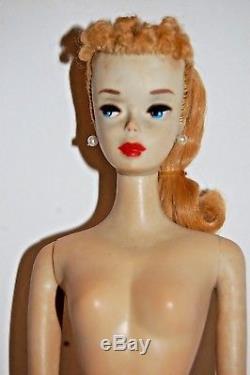 Vintage Barbie Ponytail Blonde Number 3 with original swimsuit & brown eyeliner