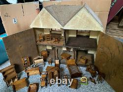 Vintage Classic Dolls house with furniture job lot