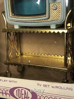 Vintage Ideal Princess Patti Miniature Dollhouse Furniture Tv Set & Stand MWB