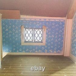 Vintage Keystone Dollhouse Large 6 Rooms Wooden Cottage Garden