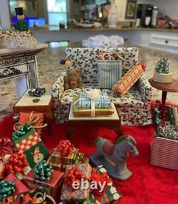 Vintage LOT Christmas Artisan Dollhouse Miniatures Presents Furniture Decor 112