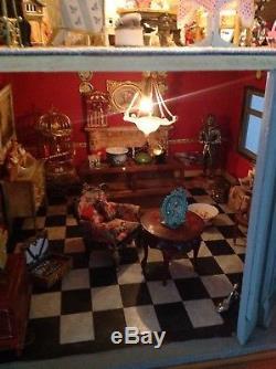 Vintage Large Handmade Fully Lit & Furnished Dolls House