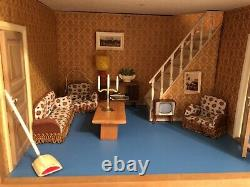 Vintage Lundby Dolls House WITH Furniture and Accessories 1970s
