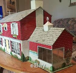 Vintage Marx Tin Litho Colonial Markie Mansion Dollhouse withFurniture People