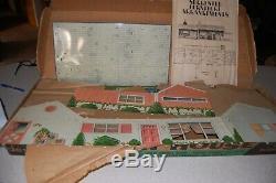 Vintage Marx Tin Litho Doll House Mid Century Modern Ranch Suburban with box