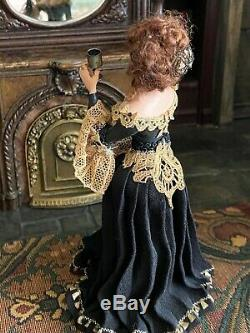 Vintage Miniature Dollhouse ARTISAN Sculpted Beautiful 18th Century Lady CHEERS